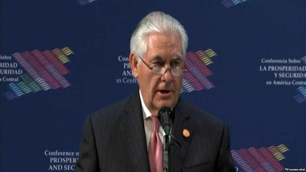 """Tillerson: """"Una América Central más segura será muy útil para EE.UU."""""""