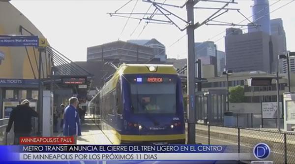 Metro Transit anuncia cierre del tren ligero en el centro de Minneapolis